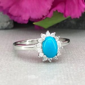 Oval blue turquoise 925 sterling silver CZ ring